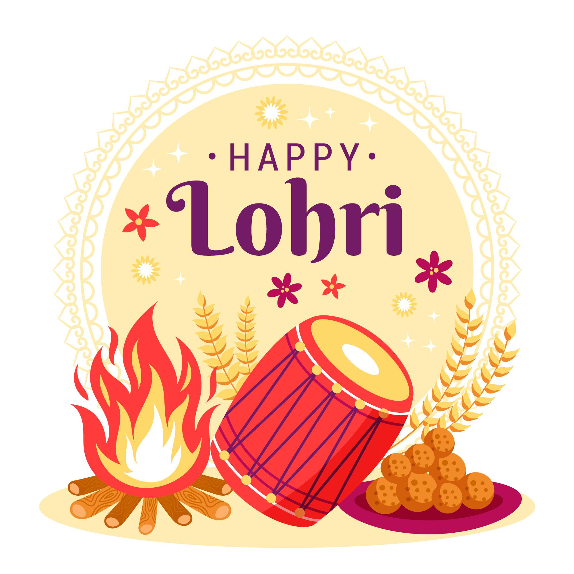 Happy Lohri Celebration Background With sweets