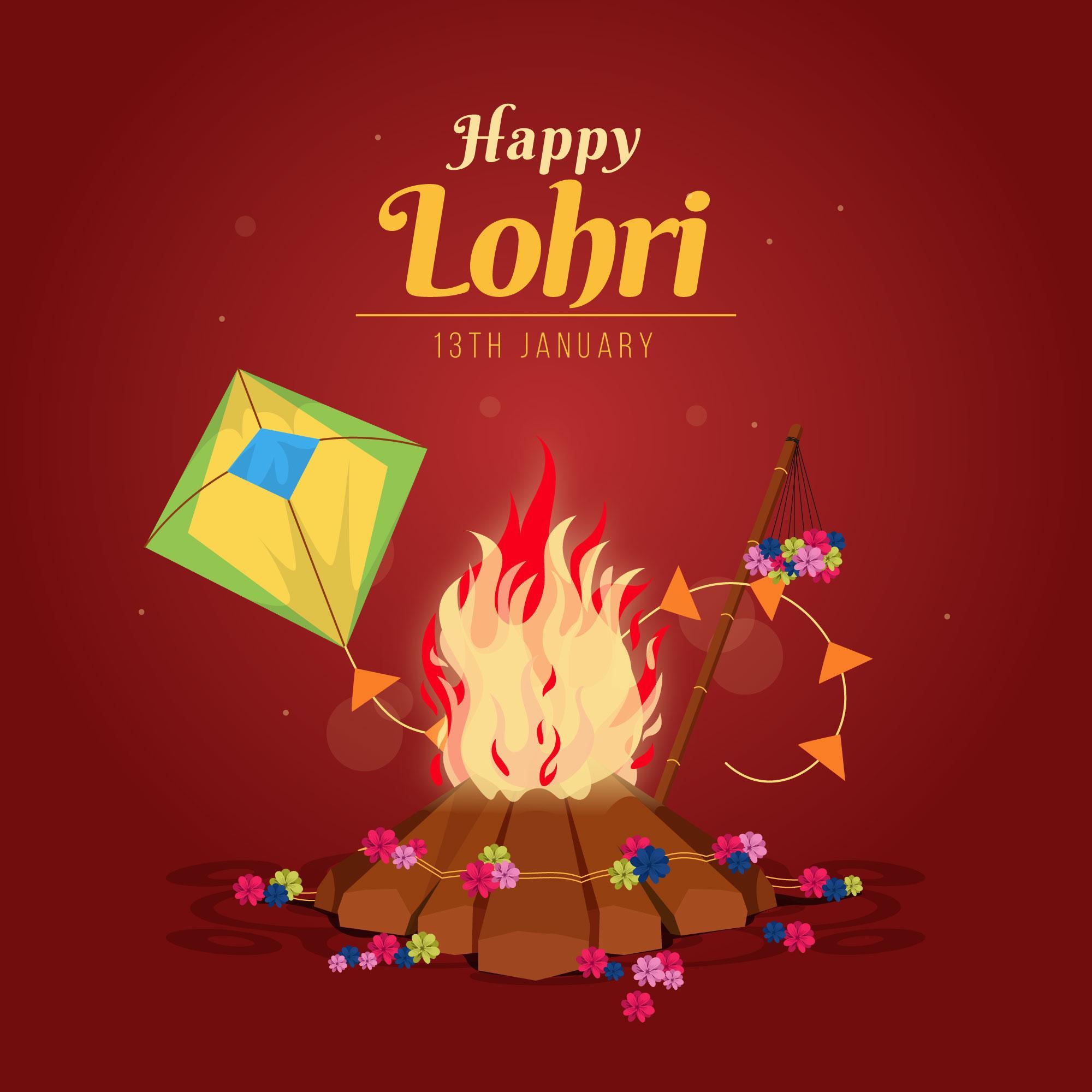 Happy Lohri Celebration Background With kite