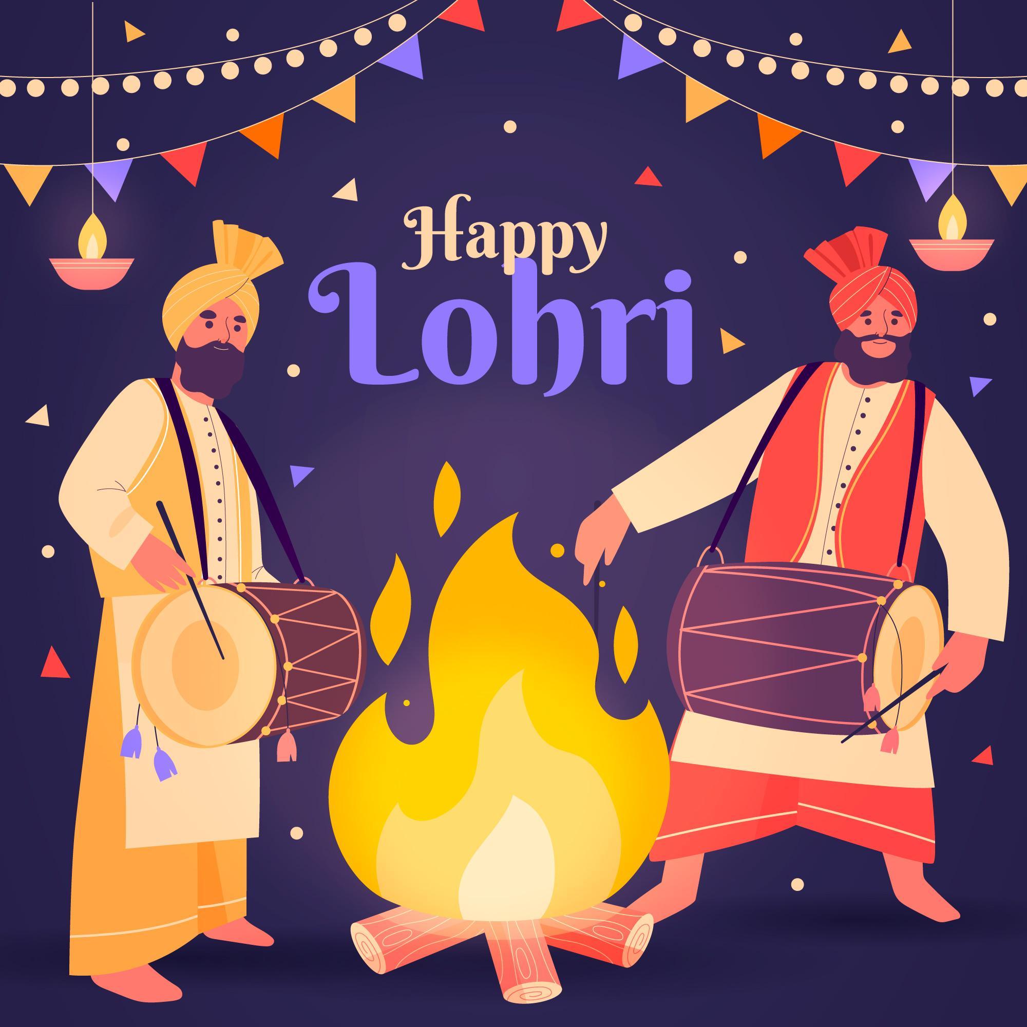 Happy Lohri Celebration Background With Panjabi Dancers