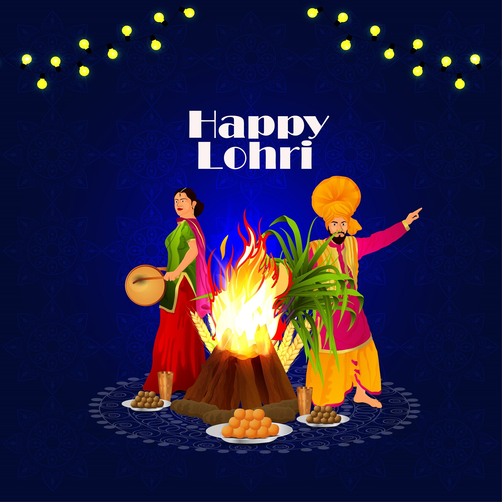 Happy Lohri Celebration Background With Panjabi Dancers women and man
