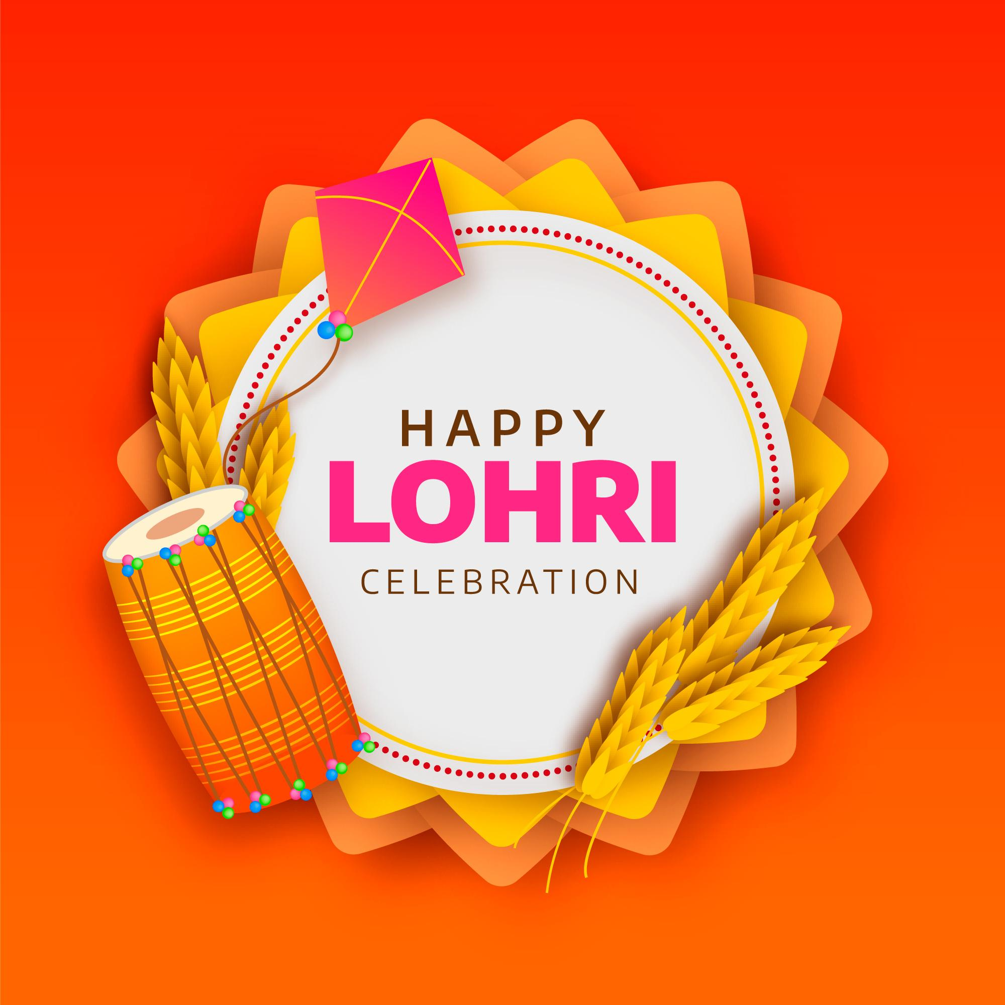 Happy Lohri Celebration Background With kite and Dhol