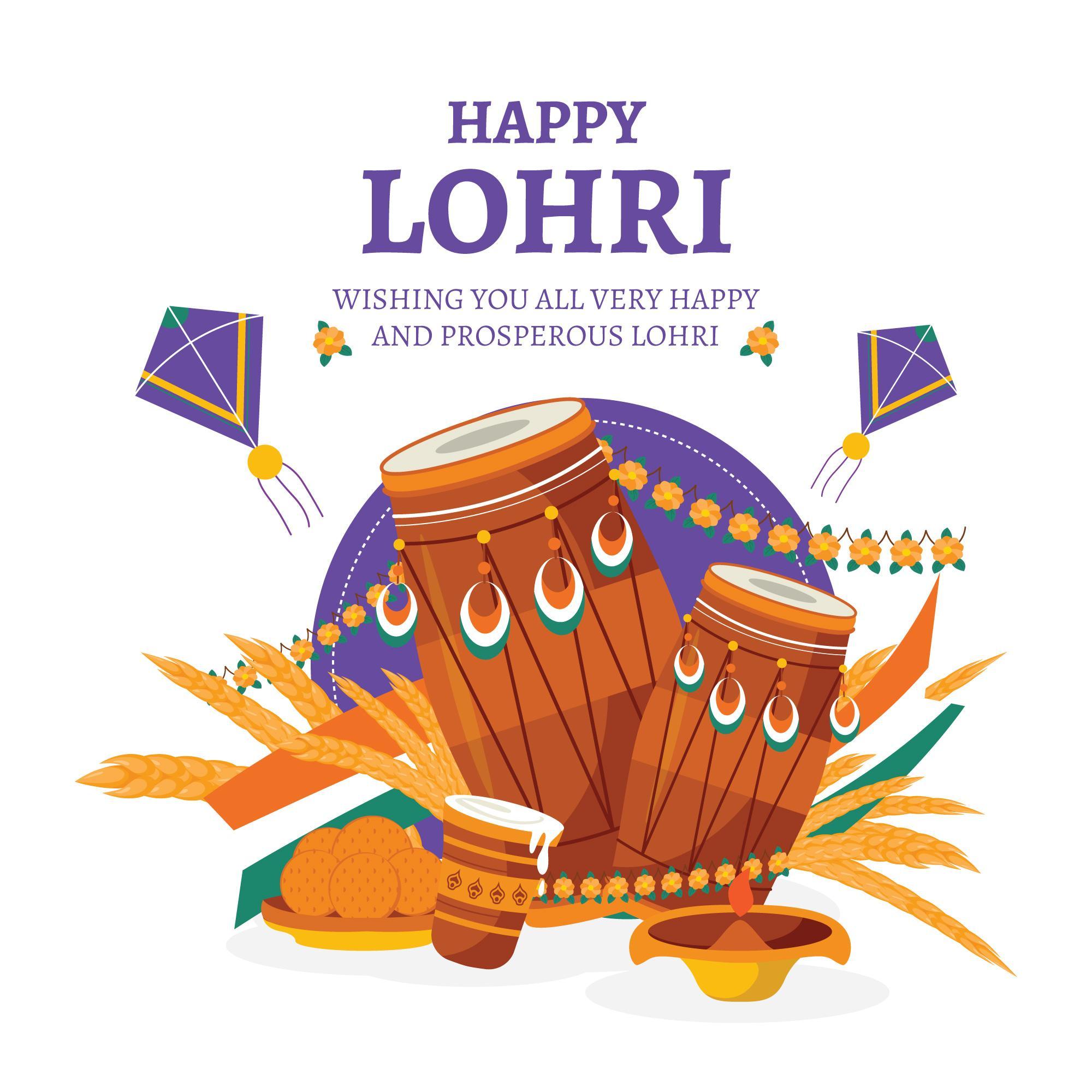 Happy Lohri Celebration blue Background With kites and dhol