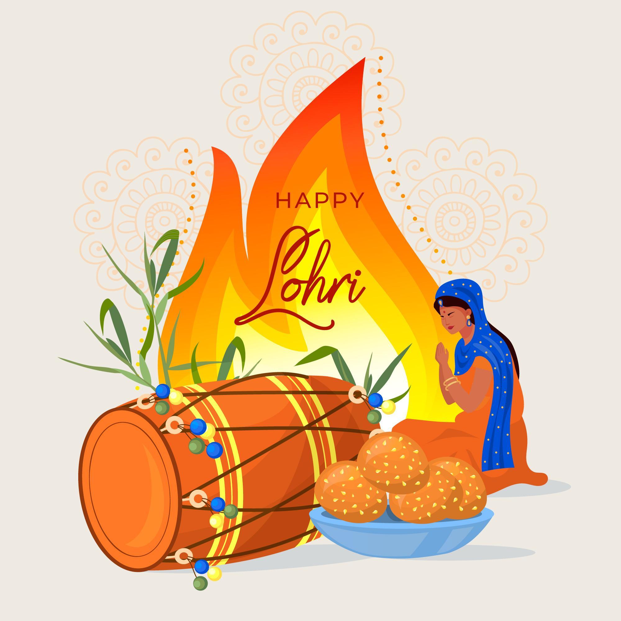 Happy Lohri Celebration Background With Panjabi Women
