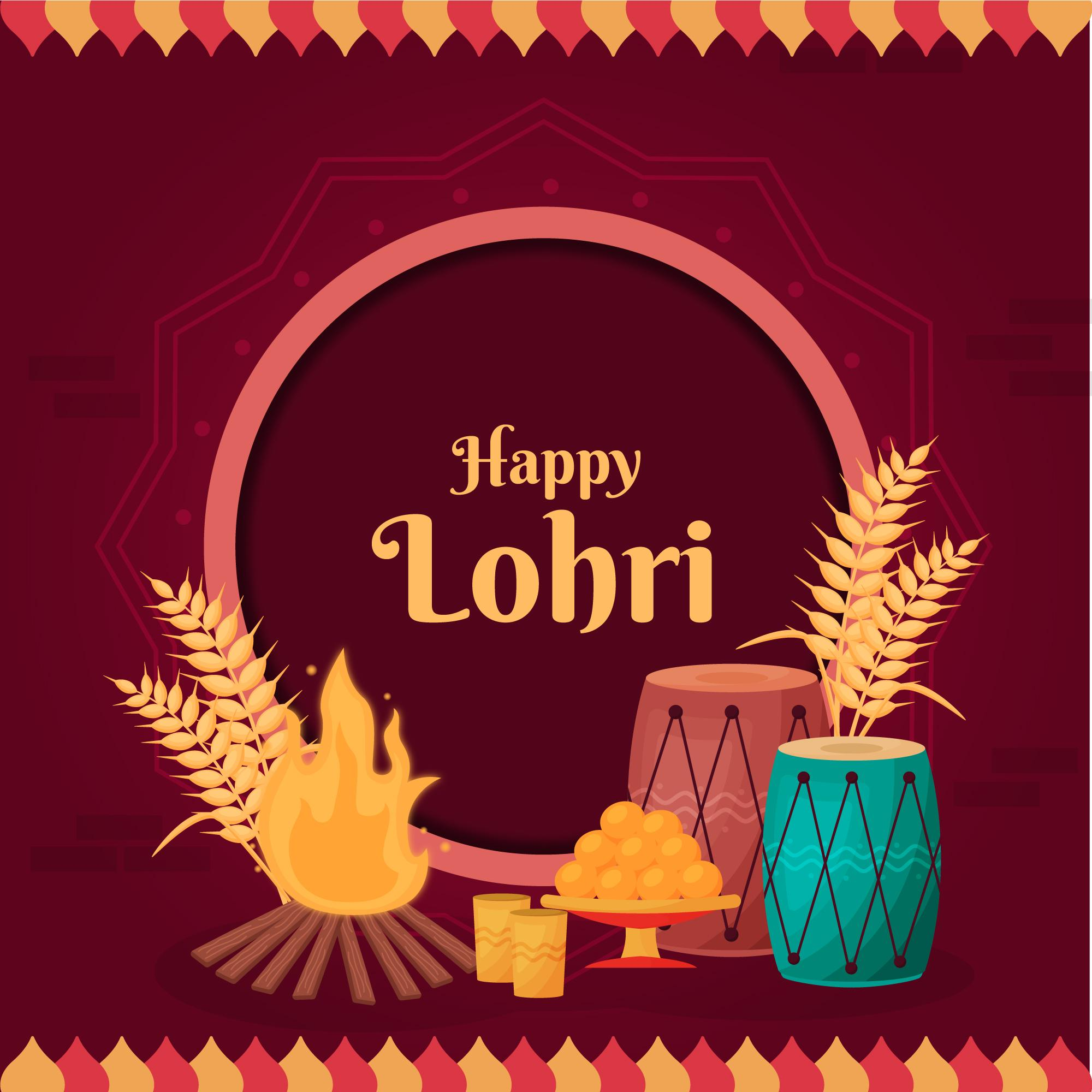 Happy Lohri text with red background
