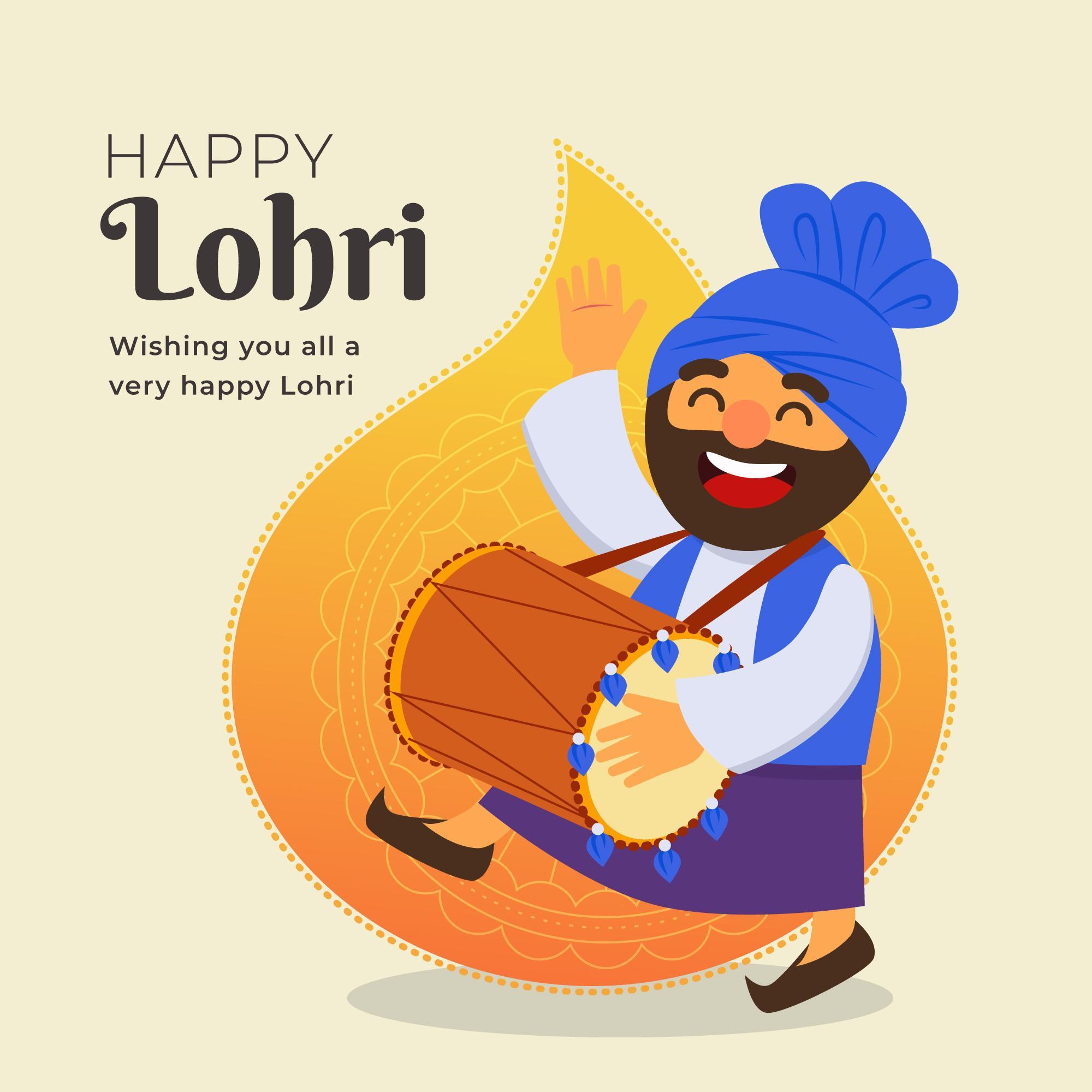 Happy Lohri Celebration Background With panjabi man