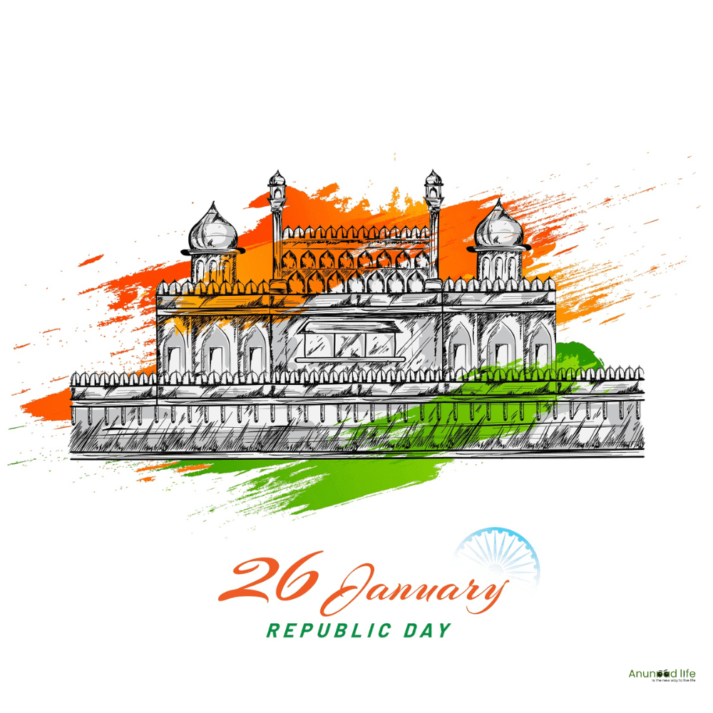 republic day with pencil drawing
