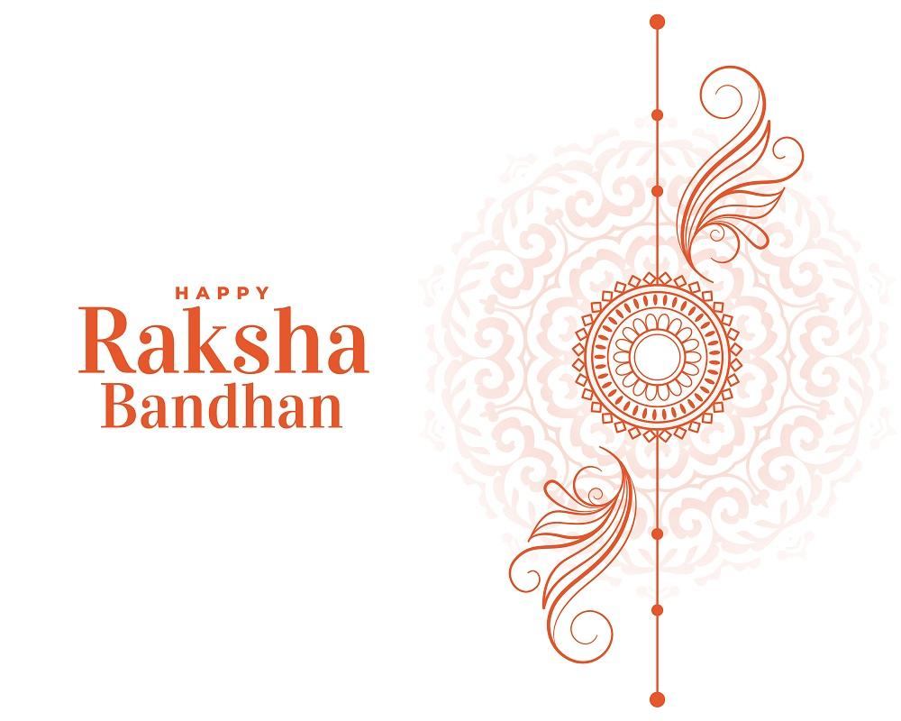 happy raksha bandhan hand drawn line style greeting