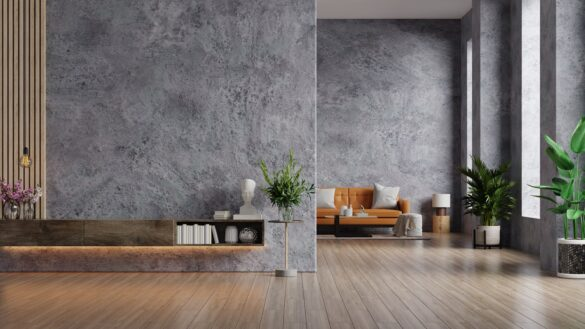 Leather sofa and a wooden table in living room interior with plant,concrete wall for TV.